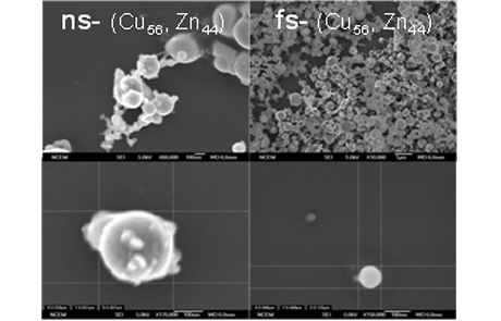 Comparison of the ablated particle size using nanosecond laser pulse